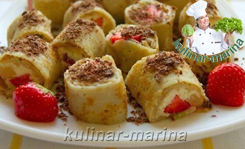 Блинчики-роллы с творожно-фруктовой начинкой | The pancake rolls with cottage cheese and fruit filling
