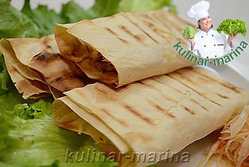 Курица с овощами в лаваше | Chicken with vegetables in pita bread
