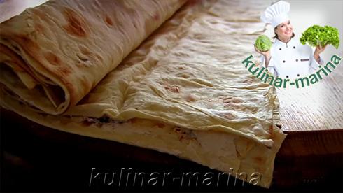 Подробный рецепт, пошаговые фотографии: Горячая закуска из лаваша | Рулетики из лаваша с курицей и сыром | Hot appetizer of pita bread | Lavash rolls with chicken and cheese