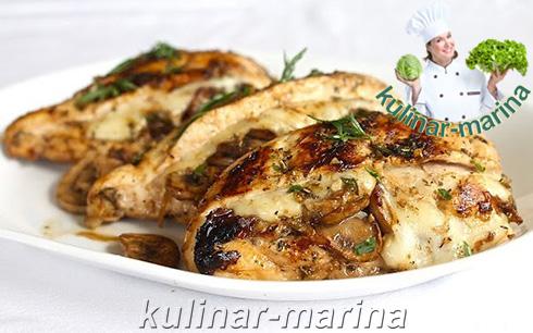 Пошаговые фотографии рецепта: Ароматная, фаршированная грибами и сыром, курочка | Flavorful stuffed mushrooms and cheese, chicken