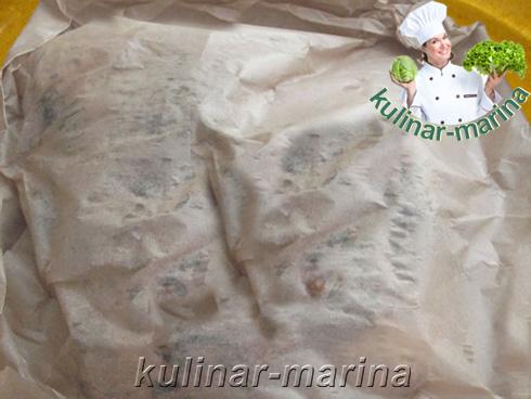 Мясная прослойка (подчеревок), запеченная в пергаментной бумаге | Meat layer, baked in parchment paper