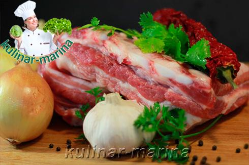 Пошаговые подробные фото рецепта: Грудинка в луковом соусе | Brisket in onion sauce