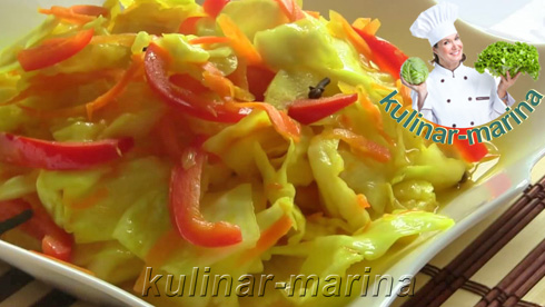 Маринованная капуста с болгарским перцем и куркумой | Pickled cabbage with pepper and turmeric