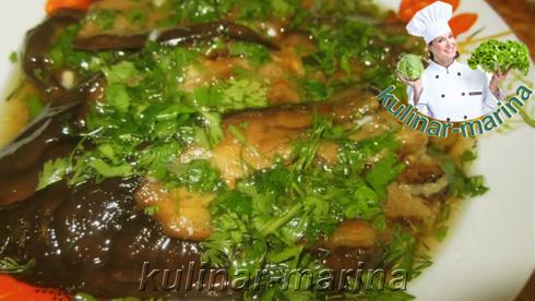 Баклажаны в уксусно-чесночном соусе с кинзой. Грузинская кухня | Eggplant in vinegar-garlic sauce with cilantro. Georgian cuisine