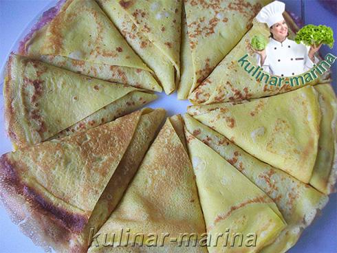 Рецепт с подробным описанием и пошаговыми фото: Треугольные блинчики со сметаной и чесноком, запеченные в духовке   Triangular pancakes with sour cream and garlic, baked in the oven