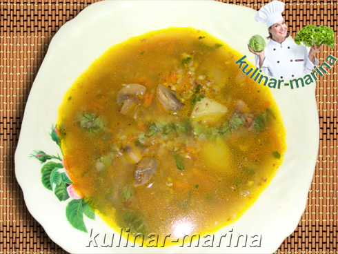 Гречневый суп с грибами | Buckwheat soup with mushrooms