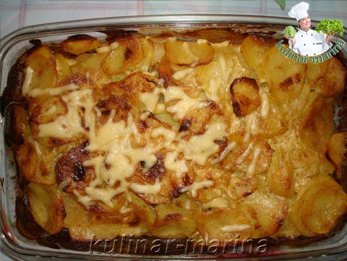 картошка с фаршем в духовке слоями