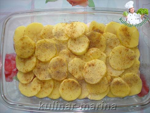 Как запечь картошку кольцами с фаршем в духовке