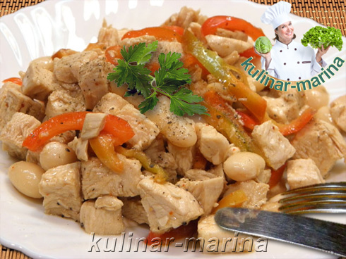 Салат из курицы с фасолью   Chicken salad with beans