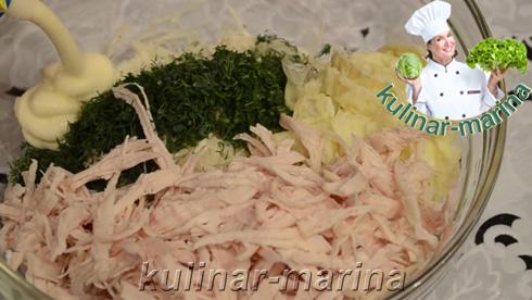 Подробное описание рецепта с пошаговыми фотографиями: Салат с омлетом | Salad with scrambled eggs