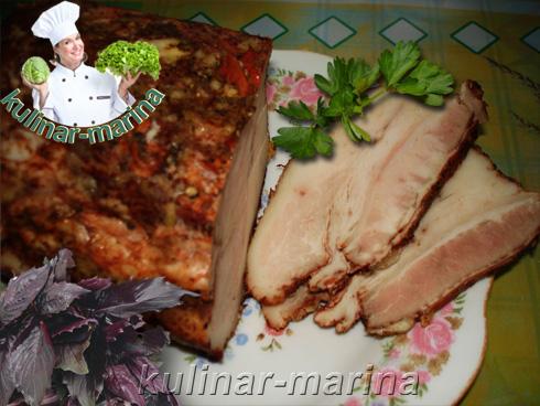 Грудинка (мясные прослойки) в луковой шелухе со специями | Breast (meat layer) in onion skins with spices